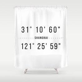 Shanghai Coordinates Minimalistic Shower Curtain