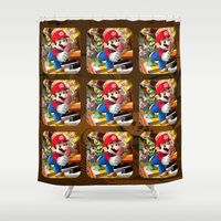 super mario Shower Curtains featuring Super Mario Mix by Maxvision