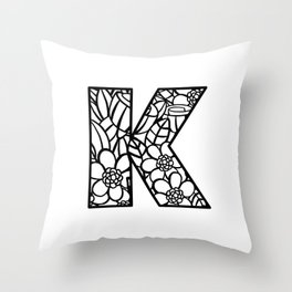 Letter K Throw Pillow
