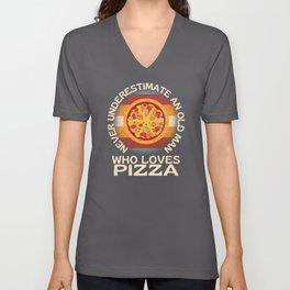 Old Man Who Loves Pizza Unisex V-Neck
