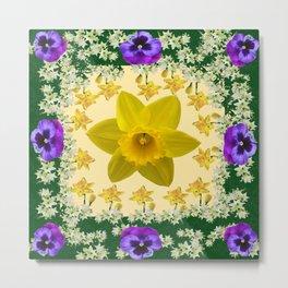 GREEN SPRING PANSIES DAFFODILS FLOWERS GARDEN MODERN ART Metal Print