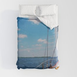 Sweet Sailing - Sailboat on the Chesapeake Bay in Annapolis, Maryland Duvet Cover