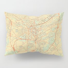 Luxembourg Map Retro Pillow Sham