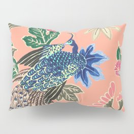 Peacock Floral in Coral Pillow Sham