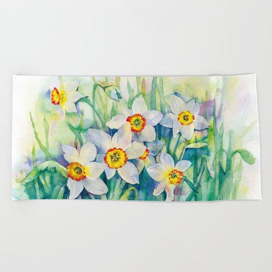Daffodils watercolor illustration Beach Towel