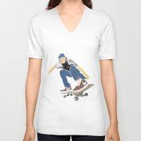 skateboard V-neck T-shirts featuring Skateboard 1 by Aquamarine Studio