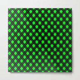 Modern Bright Neon Green Argyle Clan Check Metal Print
