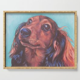 The long haired Dachshund from an original painting by L.A.Shepard Serving Tray
