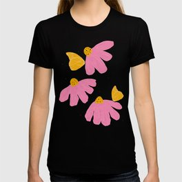 Pink Chamomile Butterfly T-shirt