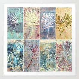 Monoprint collage of leaves Art Print