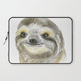 Sloth Face Watercolor Painting Animal Art Laptop Sleeve