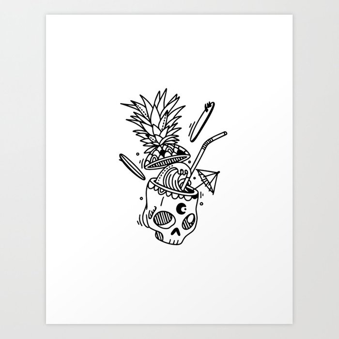 PinaSkullada | Black & White Art Print