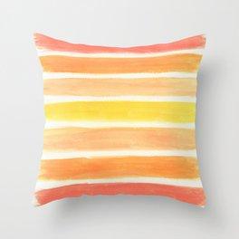 Orange Striped Abstract Throw Pillow