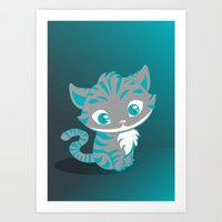 cheshire cat Art Prints featuring Cheshire Cat by Pixelowska