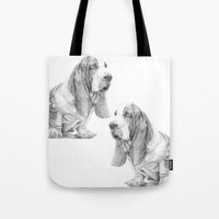 the hound Tote Bags featuring Basset hound by Doggyshop
