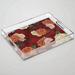 Red luxury flowers Acrylic Tray