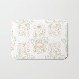 Modern girly pink mint gold Hamsa hand of fatima Bath Mat