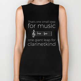 Crossing the break (clarinet) - white text for dark t-shirts Biker Tank