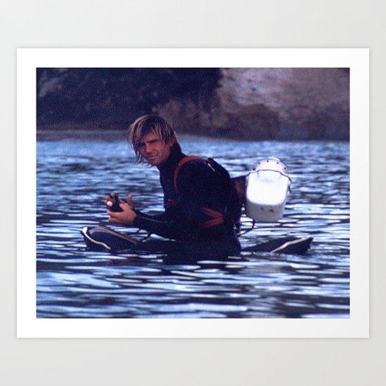 Greenough prepares to film waves Art Print