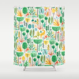 Jungle life with golden unicorn Shower Curtain