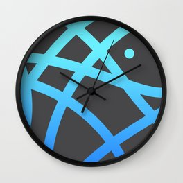 "Untitled minima line ""plus"" dot. (Blue) Wall Clock"