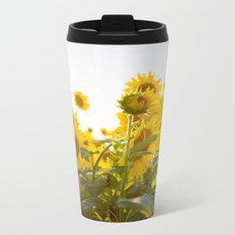 Sunflower Field Metal Travel Mug