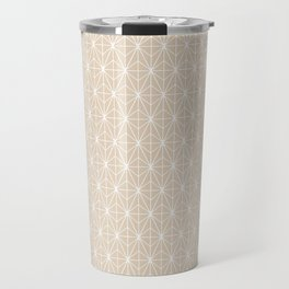 Geometric Abstract Pattern (Almond/White) Travel Mug
