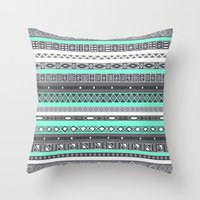 tiffany Throw Pillows featuring Tiffany Turquoise Aztec Print by RexLambo