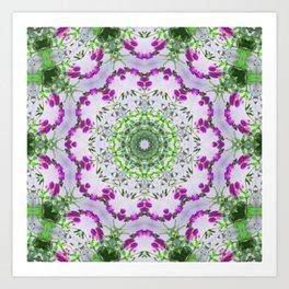 Purple Wildflower Kaleidoscope Art 6 Art Print