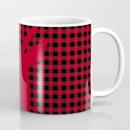 Red Plaid Deer Stag Design Coffee Mug
