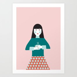 Coffee Break Woman Art Print