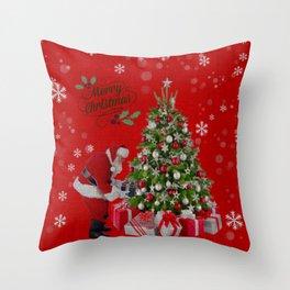 Santa Christmas Scene Throw Pillow
