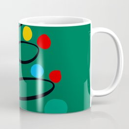Christmas Tree Minimal Design Art Red Blue Green Coffee Mug