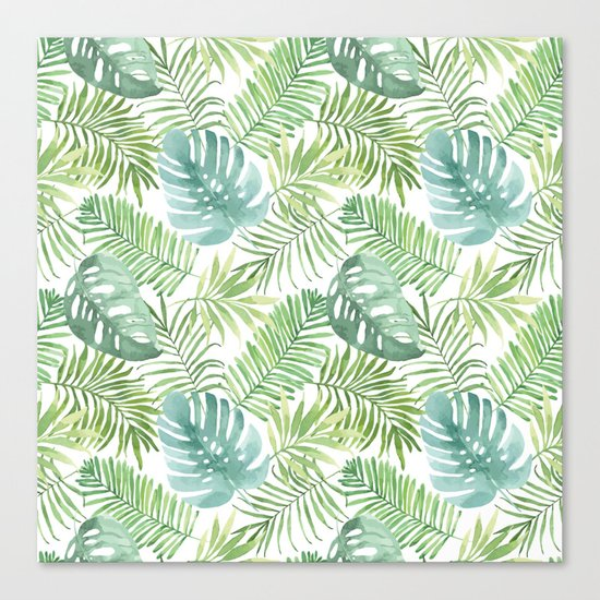 Tropical Branches Pattern 06 Canvas Print