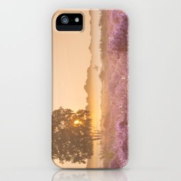 I - Fog over blooming heather near Hilversum, The Netherlands at sunrise iPhone Case