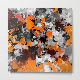 Orange and Grey Paint Splatter Metal Print