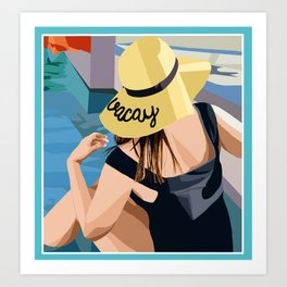 beach lady Art Print
