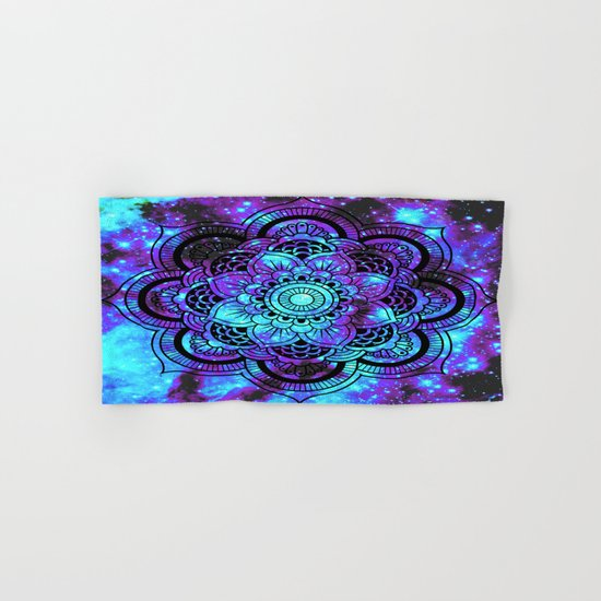 Mandala : Bright Violet & Teal Galaxy 2 Hand & Bath Towel