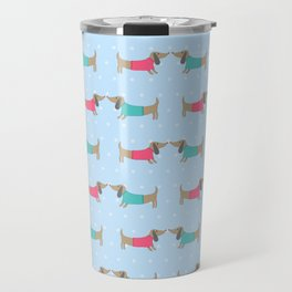 Cute dog lovers with dots in blue Travel Mug