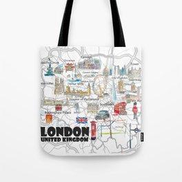 London UK Illustrated Travel Poster Favorite Map Tourist Highlights Tote Bag