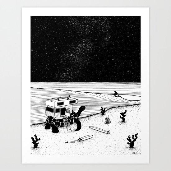 Turtle Surfari Art Print