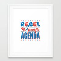 rebel Framed Art Prints featuring Rebel by Word Quirk