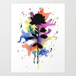 Rainbow Rose Silhouette Art Print