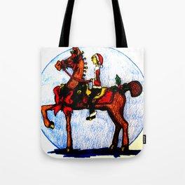 Christmas horse and girl Tote Bag