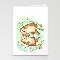 otters Stationery Cards featuring Otters Holding Hands by Georgia Dunn