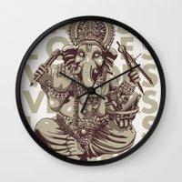 ganesh Wall Clocks featuring Ganesh by _MattVector