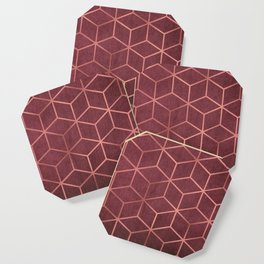 Pink and Rose Gold - Geometric Textured Gradient Cube Design Coaster