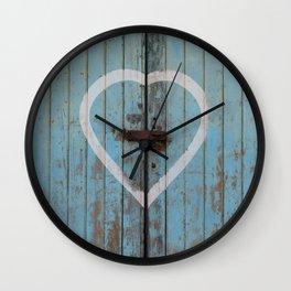 Rustic Blue Heart Wall Clock