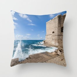 Medieval Walls Of Dubrovnik From Sea Pier Throw Pillow