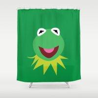 kermit Shower Curtains featuring Minimalist Kermit by Bryan Vogel